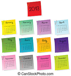 2013 calendar made of colored post-it set