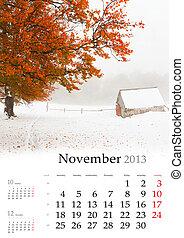 2013 Calendar. November. Beautiful autumn landscape in the mountains