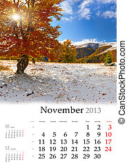 2013 Calendar. November. Beautiful autumn landscape in the mountains.