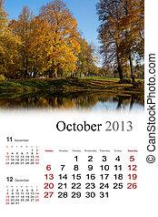 2013, calendar., october.