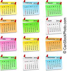 2013 Calendar on paper notes