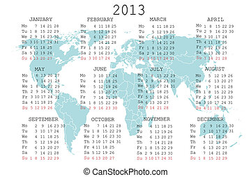 2013 calendar with blue map for your notebook or agenda