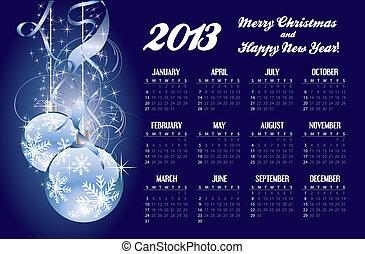2013 calendar with Christmas greeting