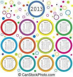 2013, calendario, con, cerchi, per, bambini