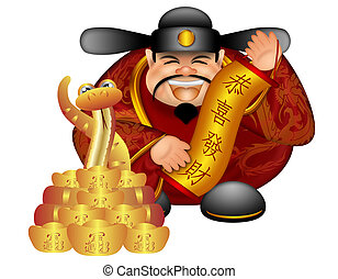 2013 Chinese Money God With Snake And Scroll Wishing...