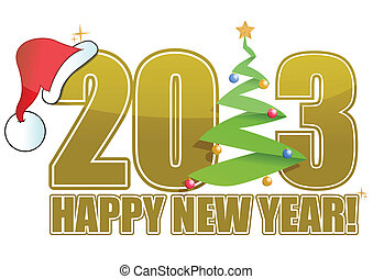 2013 Christmas sign with tree and hat illustration