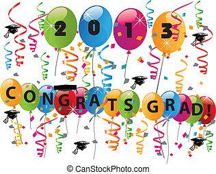 2013 Congrats grad celebration vector illustration