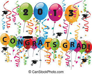 2013 Congrats grad celebration vector illustration