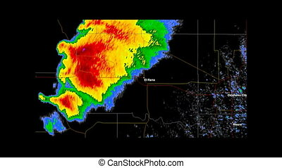 Time Lapse Doppler Radar Imagery of the supercell which spawned the historic EF5 Tornado that impacted the city of El Rino, Oklahoma in the early evening of May 31st, 2013. County / State borders and geographically correct labels for all major affected cities are visible. Created using data provided...