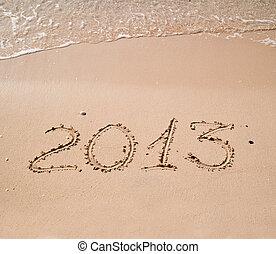 2013, escrito, em, areia, ligado, praia
