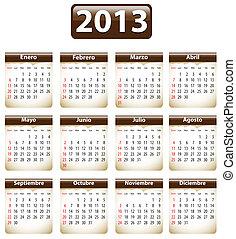 2013, español, calendario