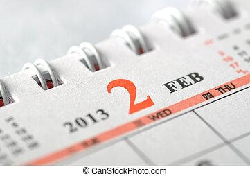 2013, février, calendrier