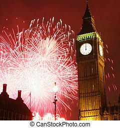 2013, Fireworks over Big Ben at midnight - Fireworks over...