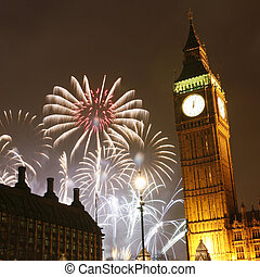 2013, Fireworks over Big Ben at midnight - LONDON, UK -...