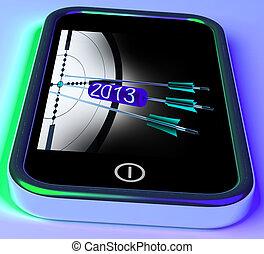 2013, flechas, en, smartphone, actuación, futuro, metas