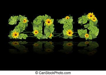 2013., flower., feuilles, vert, année, date, nouveau, revêtu