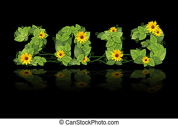 2013., flower., foglie, verde, anno, data, nuovo, foderare