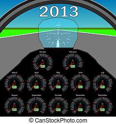 2013., forma, instrumentos, carlinga, elegante, calendario