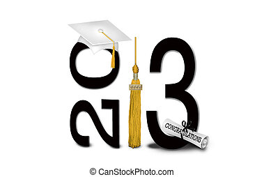 2013, graduación, con, blanco, gorra