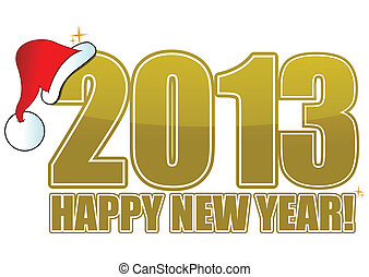 2013 happy new year golden sign