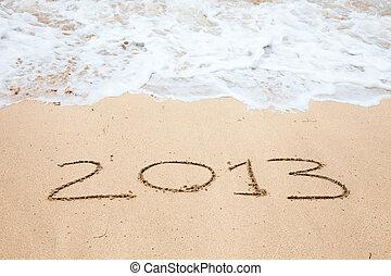 """""""2013"""", iscrizione, scritto, sabbia"""