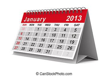 2013, jaar, calendar., january., vrijstaand, 3d, beeld