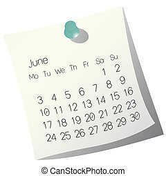 2013 June calendar on white paper