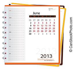 2013, kalendář, diář, june., vektor, illustration.