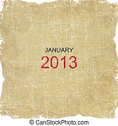2013, kalendarz, stary, papier, projektować, -, styczeń