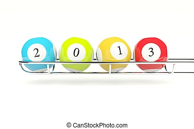 2013 lottery balls isolated on white