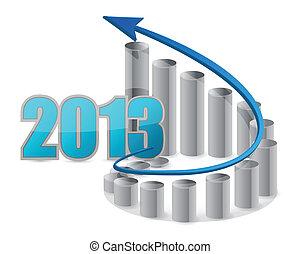 2013, negócio, gráfico, ilustração
