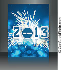 2013 new year celebration blue colorful brochure card vector...