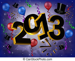 2013 New year party invitation graphic with 3 dimensional...