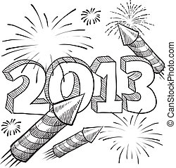 2013 New Year sketch - Doodle style 2013 New Year...