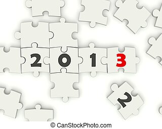 2013 New year symbol on puzzle