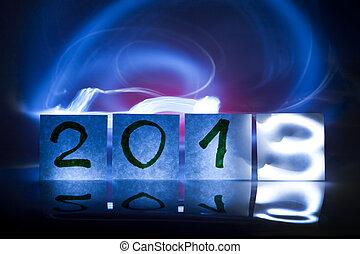 2013, pojęcie, lekki, graffiti, rok, nowy