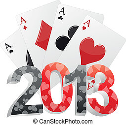 2013 poker - illustration of 2013 text with poker cards