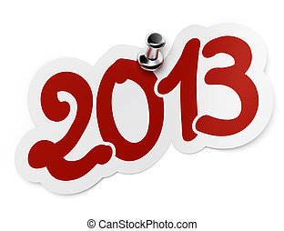 2013 red sticker fixed onto a white background by using a thumbtack.