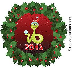 2013, Símbolo, grinalda, Natal, serpente