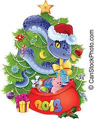 2013., símbolo, -, serpiente, año, nuevo