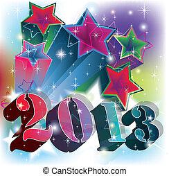 2013, scoppio, in, uno, colorito, stellato, fondo