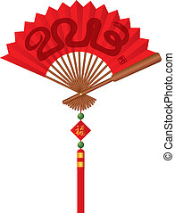 2013 Snake Year Red Chinese Fan Illustration