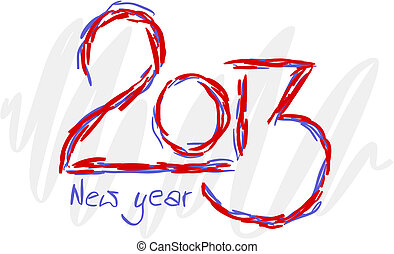 2013 text for new year - colorful illustration.