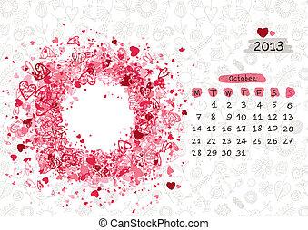 2013, text, october., eller, vektor, plats, ram, foto, kalender, din