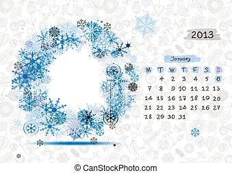 2013, text, ram, january., din, vektor, plats, foto, kalender, eller