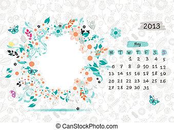 2013, text, ram, may., din, vektor, plats, foto, kalender, eller