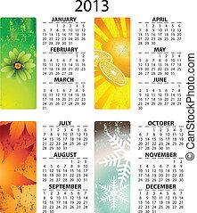 2013, vector, calendario