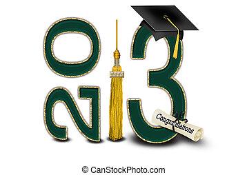 2013, verde, graduación, oro