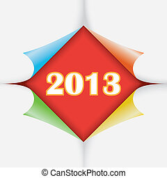 2013 year between color paper stickers with bent corners, illustration