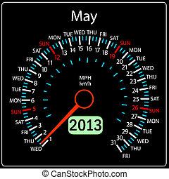 2013 year calendar speedometer car in vector. May.